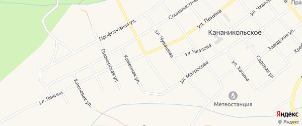 Комсомольская улица на карте Кананикольского села с номерами домов