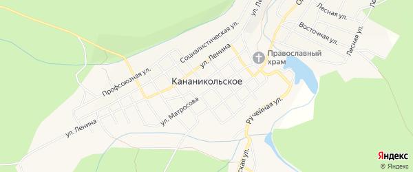 Карта Кананикольского села в Башкортостане с улицами и номерами домов
