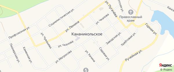 Садовая улица на карте Кананикольского села с номерами домов
