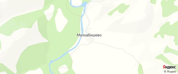 Карта деревни Малоабишево в Башкортостане с улицами и номерами домов