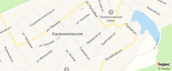Кооперативная улица на карте Кананикольского села с номерами домов