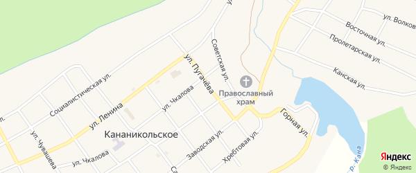 Улица Пугачева на карте Кананикольского села с номерами домов