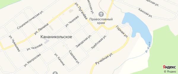 Учительская улица на карте Кананикольского села с номерами домов
