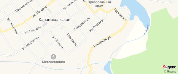 Хребтовая улица на карте Кананикольского села с номерами домов