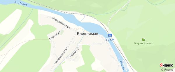 Карта села Бриштамака в Башкортостане с улицами и номерами домов