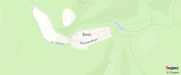 Карта деревни Бияза в Башкортостане с улицами и номерами домов