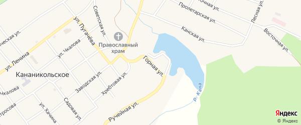 Горная улица на карте Кананикольского села с номерами домов