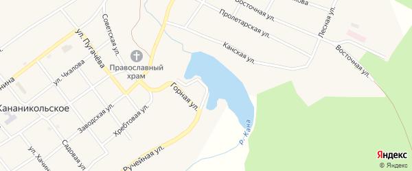Прудовая улица на карте Кананикольского села с номерами домов
