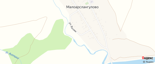 Улица Вазям на карте деревни Малоарслангулово с номерами домов