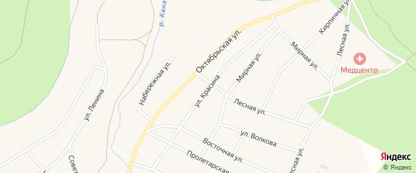 Улица Красина на карте Кананикольского села с номерами домов