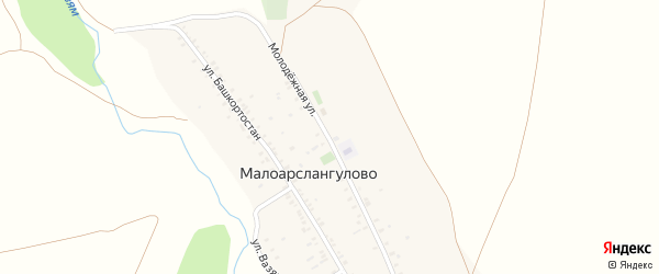 Молодежная улица на карте деревни Малоарслангулово с номерами домов