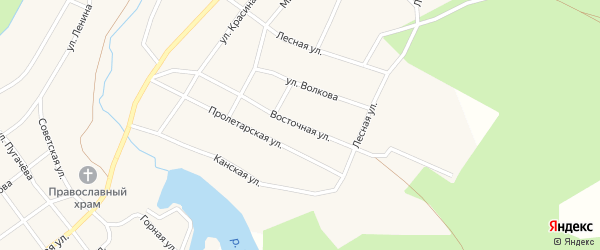 Восточная улица на карте Кананикольского села с номерами домов