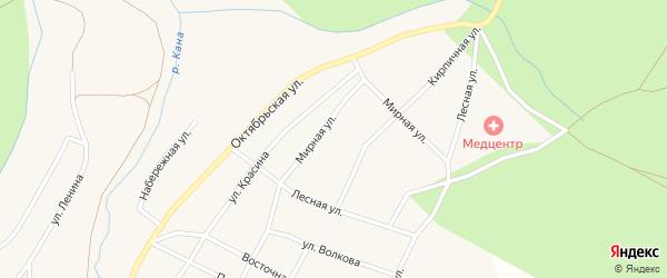Мирная улица на карте Кананикольского села с номерами домов