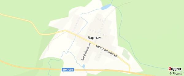 Карта деревни Бартыма в Башкортостане с улицами и номерами домов