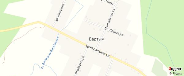 Лесная улица на карте деревни Бартыма с номерами домов