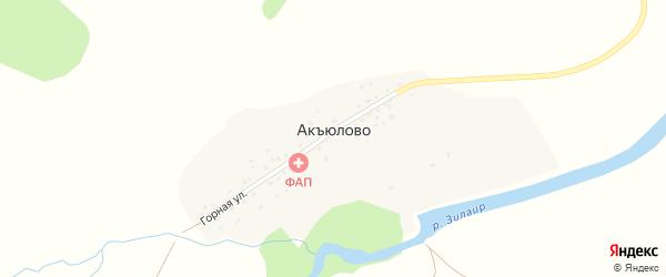 Речная улица на карте деревни Акъюлово с номерами домов