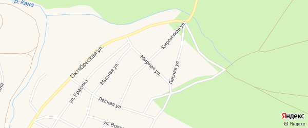 Кирпичная улица на карте Кананикольского села с номерами домов