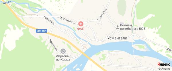 Набережная улица на карте села Усмангали с номерами домов