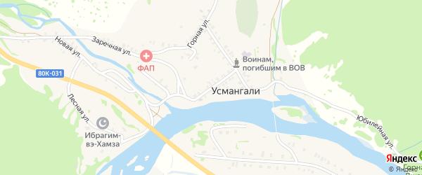 Центральная улица на карте села Усмангали с номерами домов