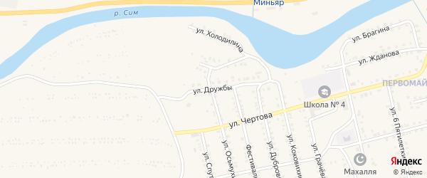 Улица Дружбы на карте Миньяра с номерами домов
