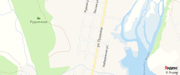 Лесная улица на карте села Верхнего Авзяна с номерами домов