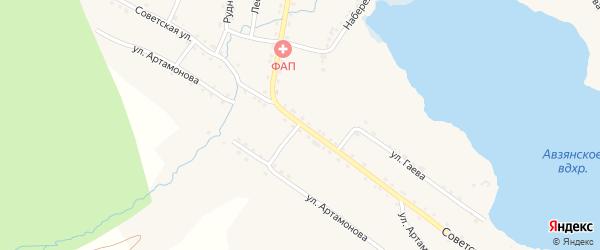 Советская улица на карте села Верхнего Авзяна с номерами домов