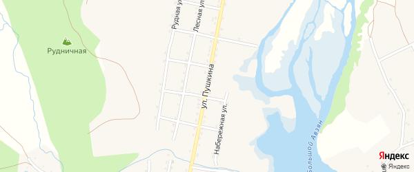 Улица Пушкина на карте села Верхнего Авзяна с номерами домов