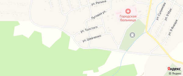 Улица Шевченко на карте Миньяра с номерами домов