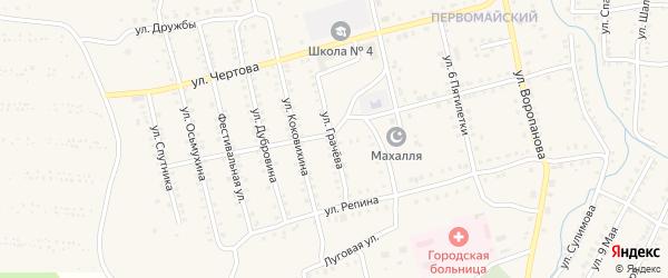 Улица Грачева на карте Миньяра с номерами домов