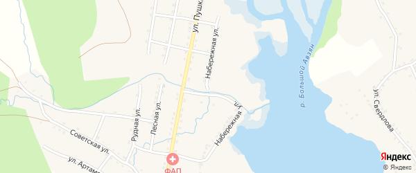 Набережная улица на карте села Верхнего Авзяна с номерами домов