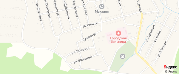 Луговая улица на карте Миньяра с номерами домов