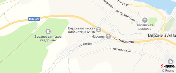 Партизанская улица на карте села Верхнего Авзяна с номерами домов