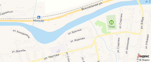 Улица Брагина на карте Миньяра с номерами домов
