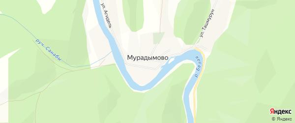 Карта деревни Мурадымово в Башкортостане с улицами и номерами домов