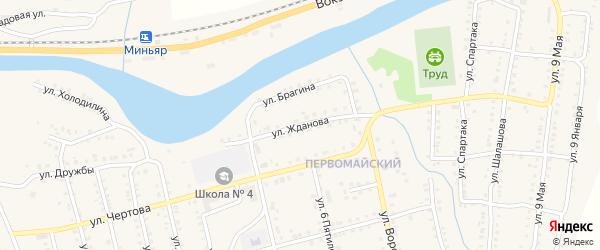 Улица Жданова на карте Миньяра с номерами домов