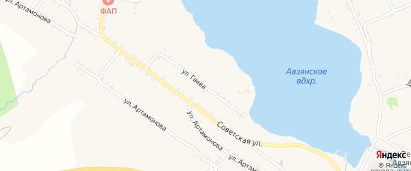 Улица Гаева на карте села Верхнего Авзяна с номерами домов
