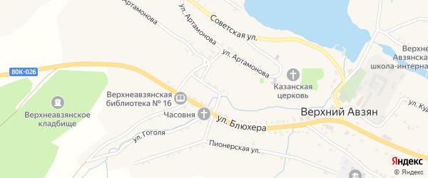 Зеленая улица на карте села Верхнего Авзяна с номерами домов