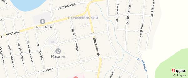 Улица Воропанова на карте Миньяра с номерами домов