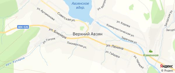 Карта села Верхнего Авзяна в Башкортостане с улицами и номерами домов