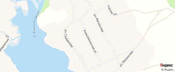 Комсомольская улица на карте села Верхнего Авзяна с номерами домов