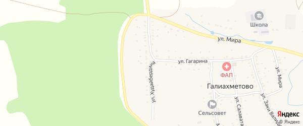 Улица Худайбердина на карте села Галиахметово с номерами домов