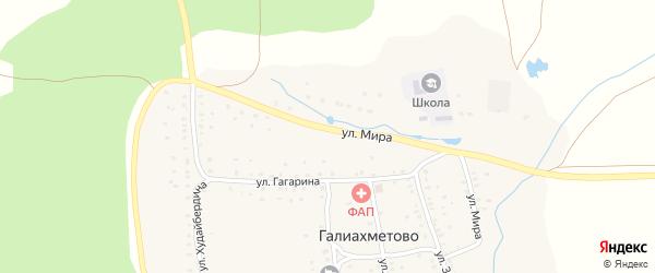 Улица Мира на карте села Галиахметово с номерами домов