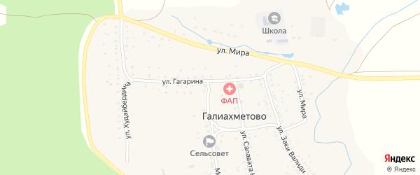 Улица Гагарина на карте села Галиахметово с номерами домов