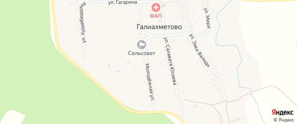 Молодежная улица на карте села Галиахметово с номерами домов