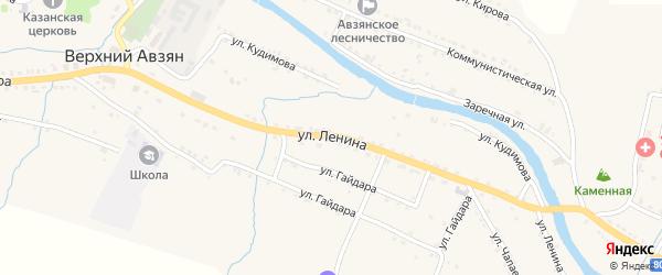 Улица Ленина на карте села Верхнего Авзяна с номерами домов