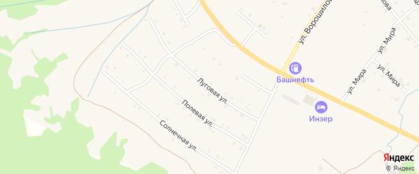 Луговая улица на карте села Инзера с номерами домов