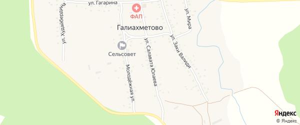 Улица Салавата Юлаева на карте села Галиахметово с номерами домов