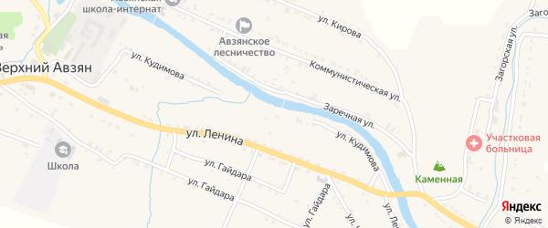 Улица Кудимова на карте села Верхнего Авзяна с номерами домов