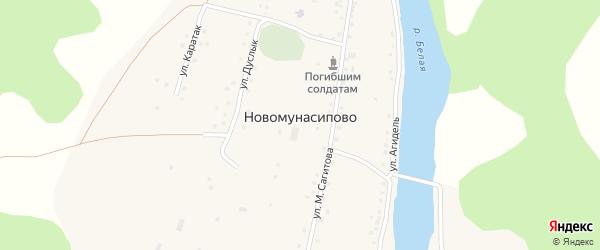 Улица Каратау на карте деревни Новомунасипово с номерами домов