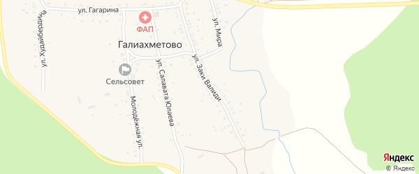 Улица Заки Валиди на карте села Галиахметово с номерами домов